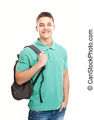 happy smiling student with backpack - Portrait of happy...