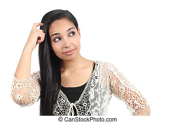 Pretty arab woman with a doubt isolated on a white...