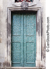 Old wooden door - Old green wooden door
