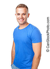 happy smiling man isolated on white background - Portrait of...