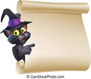 Halloween Witch Cat Scroll - Cartoon Halloween black cat...
