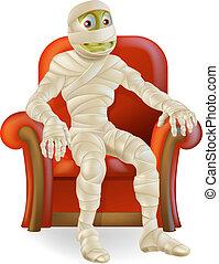Halloween Mummy in Chair - An illustration of a cartoon...