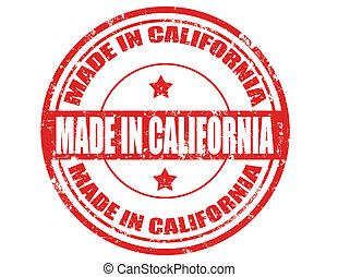 Made in California - Grunge rubber stamp with text Made in...