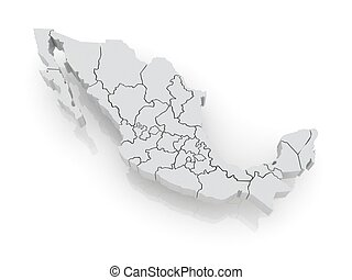 Three-dimensional map of Mexico.