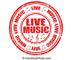 Live Music-stamp - Grunge rubber stamp with text Live...