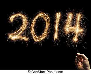 Happy New Year 2014 - Man writing number 2014 with a...