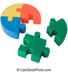 Puzzle - Multi-coloure slices plastic puzzle on the white...