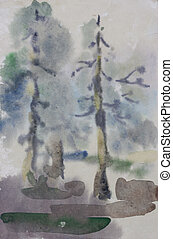 Two pine tree primitive watercolor art in diffuse wet style