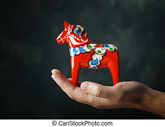 Dalecarlian Horse - A Hand-made traditional wooden...