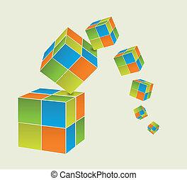 Falling cubes - Falling color cubes