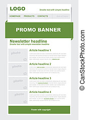 Newsletter green template - Newsletter template with green...