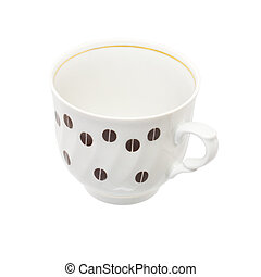 Coffee cup with inflicted by pattern from coffee grain