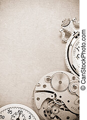watch mechanism at metal background texture