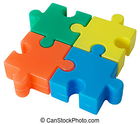Puzzle - Plastic colored figure from slices puzzle on the...