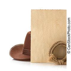 envelhecido, papel, boiadeiro, chapéu