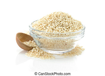 sesame seed in bowl isolated on white background