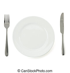 plate, knife and fork on white - plate, knife and fork...