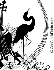 violin and heron - vector illustration with violin and heron...