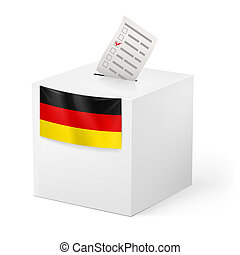 Ballot box with voicing paper. Germany. - Election in...