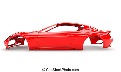 espalda, cuerpo, coche