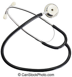 Stethoscope with black tube on the white background