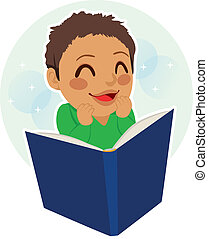 Little Boy reading - Multiethnic mixed race little boy happy...