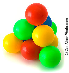 Balls - Pyramid from small plastic colored balls on the...