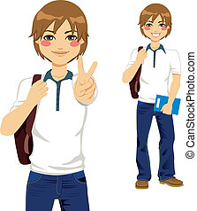 Handsome Student Teen - Handsome student boy making victory...