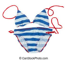 blue striped swimsuit on a white background