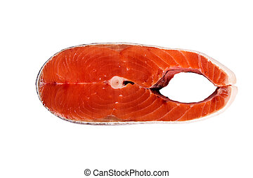 humpback salmon - Piece of fish humpback salmon isolated on...