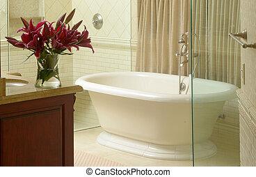 moderno, cuarto de baño, lujoso, bañera