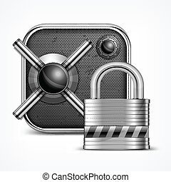 Safe icon and padlock - Safe icon with combination lock...