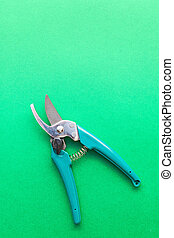 Secateurs on green background