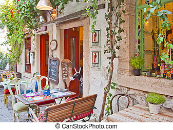 Beautiful Stone Street in Alacati,u0130zmir Turkey