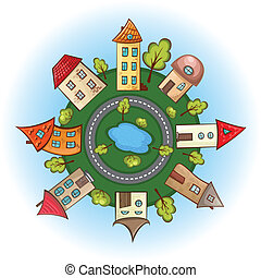houses in a circle in a cartoon style, the city