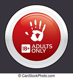Adults only content button. Red round sticker.