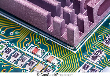 Electronic components on a printed-circuit board - Close up...