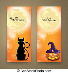 Vector Halloween Banners - Vector Illustration of Two...