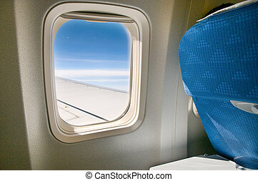 Airplane window - View of the internal airplane window and...