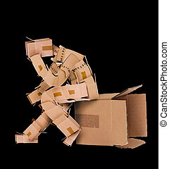 Box man deep thinker - Box man deep thinking and sat on a...