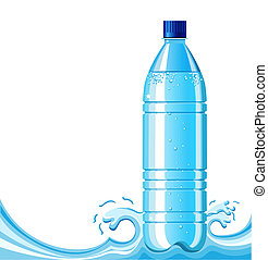 Bottle of clean water and splashing background .Vector...