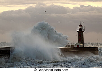 Winter sunset - Sea storm at sunset - Douro river mouth...