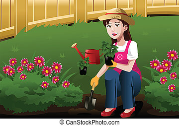 Young woman working in the yard