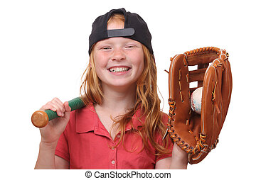 Baseball girl - Happy red haired baseball girl on white...