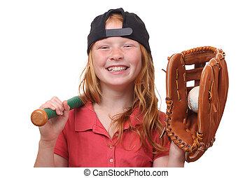 Baseball girl - Happy red haired baseball girl on white...