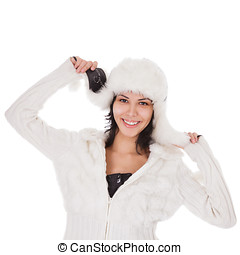 Woman in warm clothing on white background