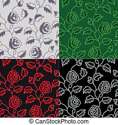 set of seamless backgrounds with roses