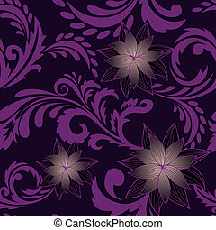 purple seamless background with flowers