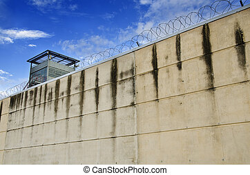 Prison wall and barbed wire.