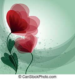 red flowers - Romantic background with red flowers and place...